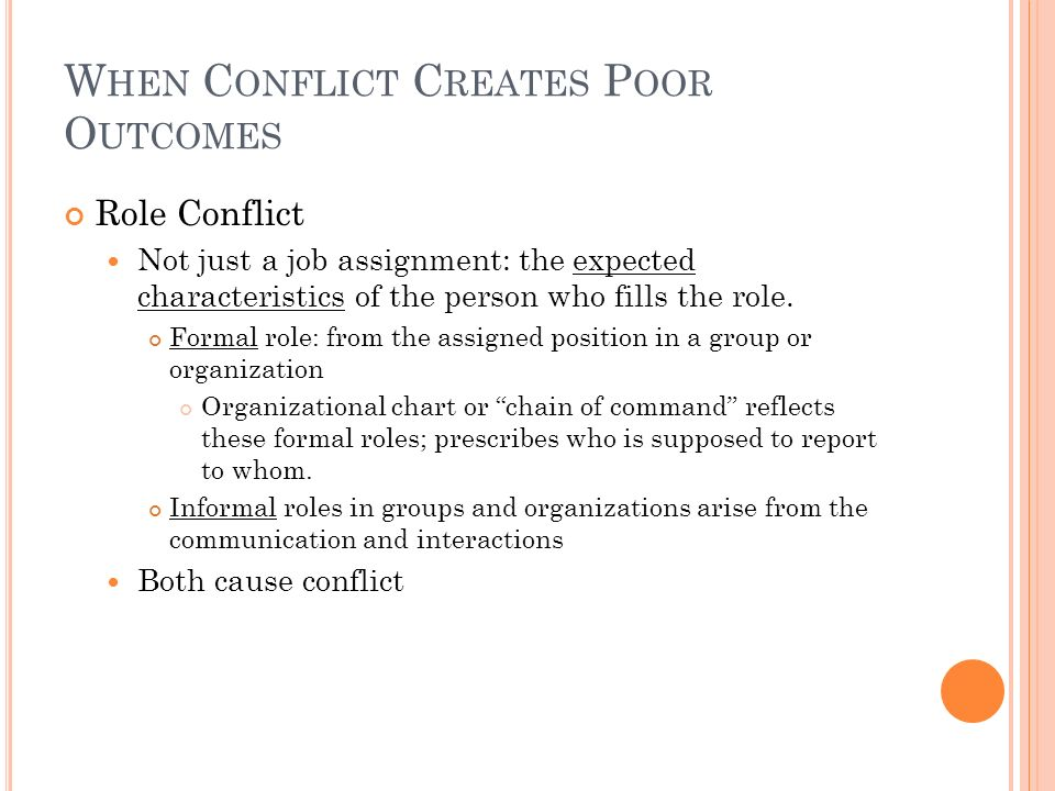 When Conflict Creates Poor Outcomes