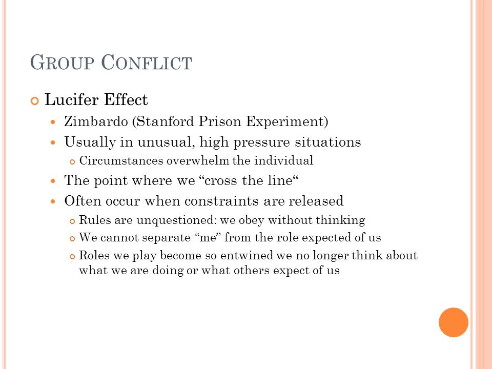 Group Conflict Lucifer Effect Zimbardo (Stanford Prison Experiment)