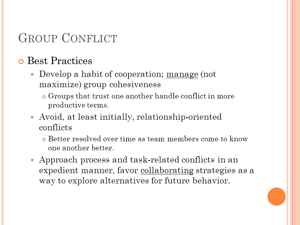 Group Conflict Best Practices