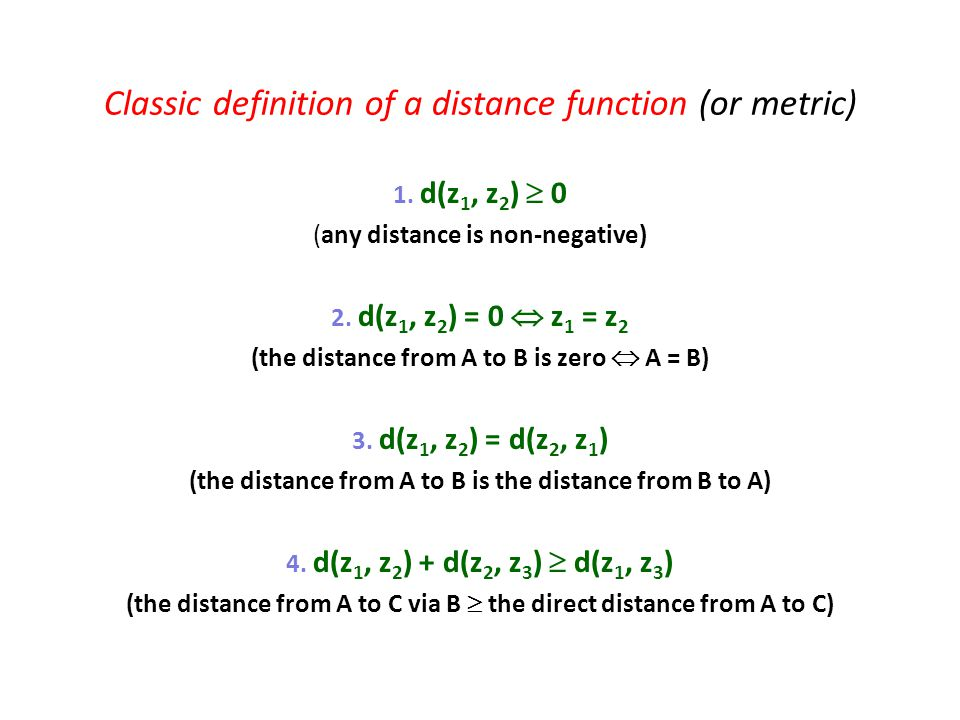 Classic definition of a distance function (or metric)