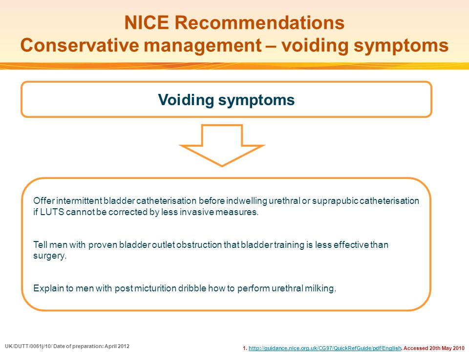 NICE Recommendations Conservative management – voiding symptoms