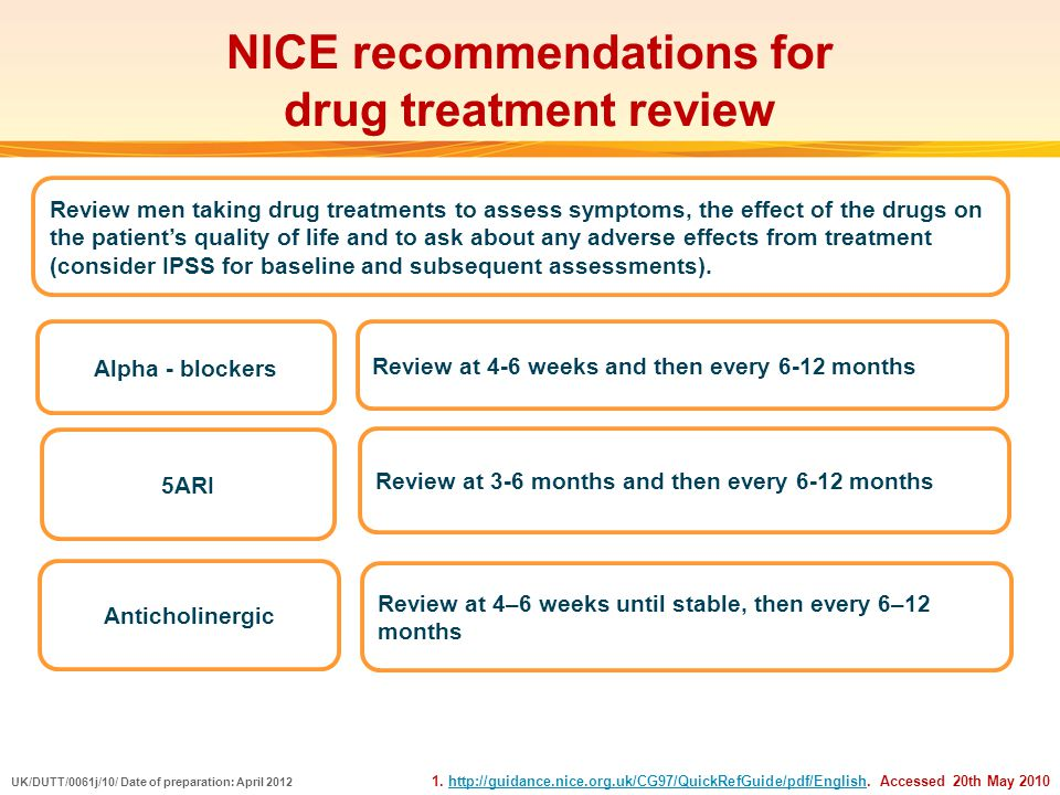 NICE recommendations for drug treatment review