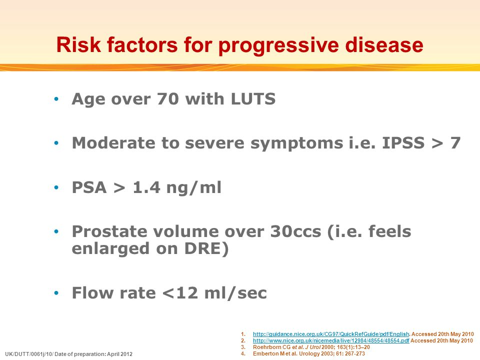 Risk factors for progressive disease