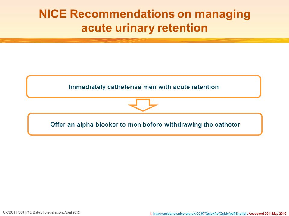 NICE Recommendations on managing acute urinary retention