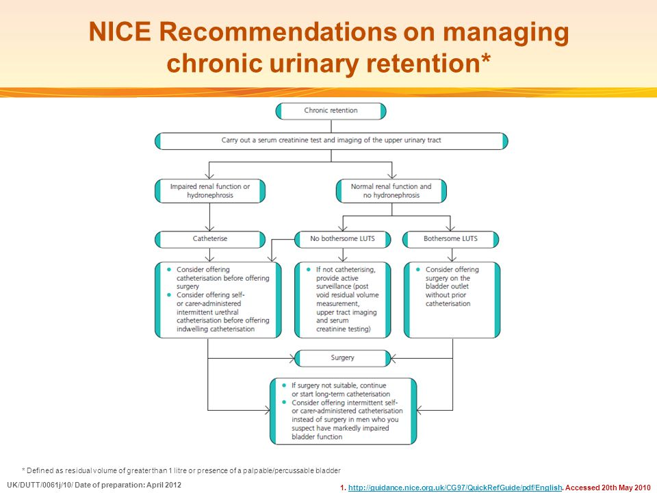 NICE Recommendations on managing chronic urinary retention*