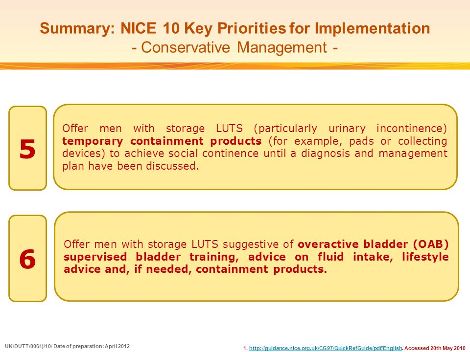 Summary: NICE 10 Key Priorities for Implementation - Conservative Management -