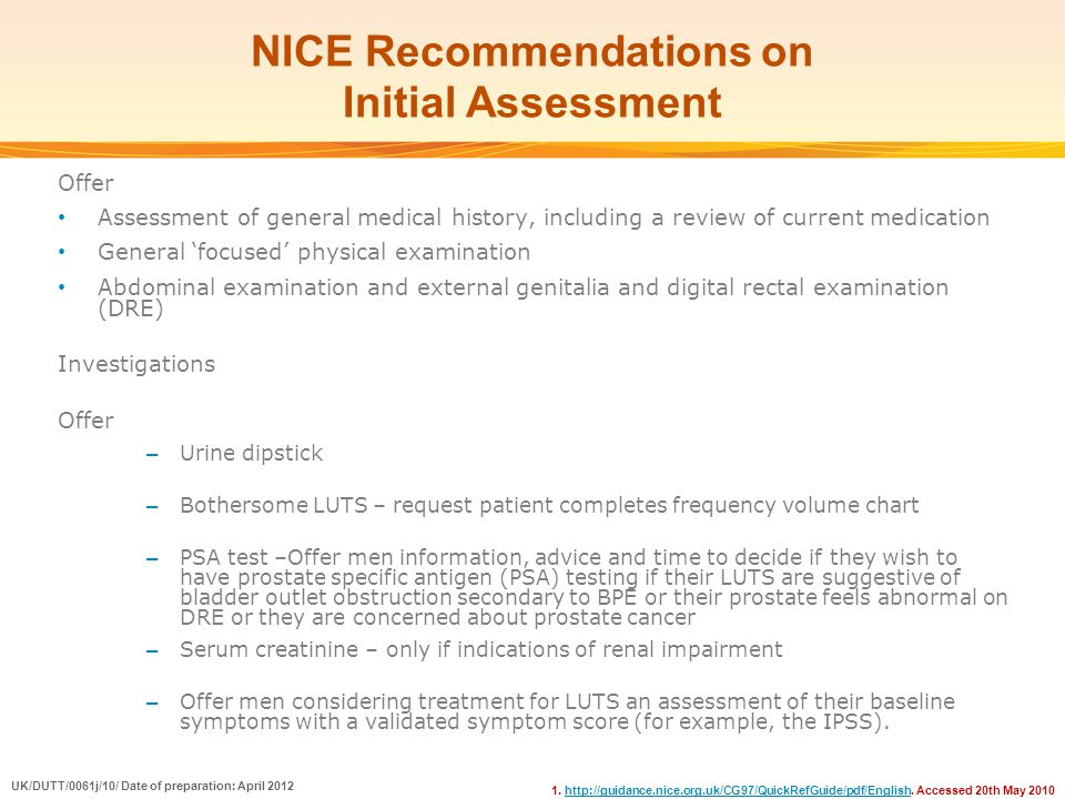 NICE Recommendations on Initial Assessment