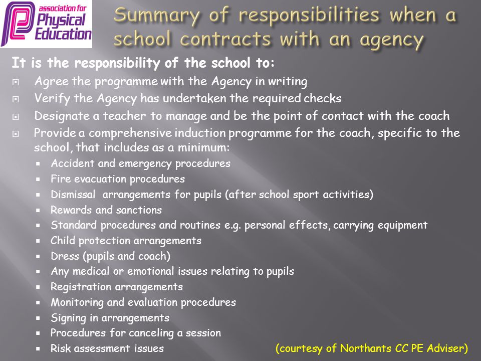 Summary of responsibilities when a school contracts with an agency