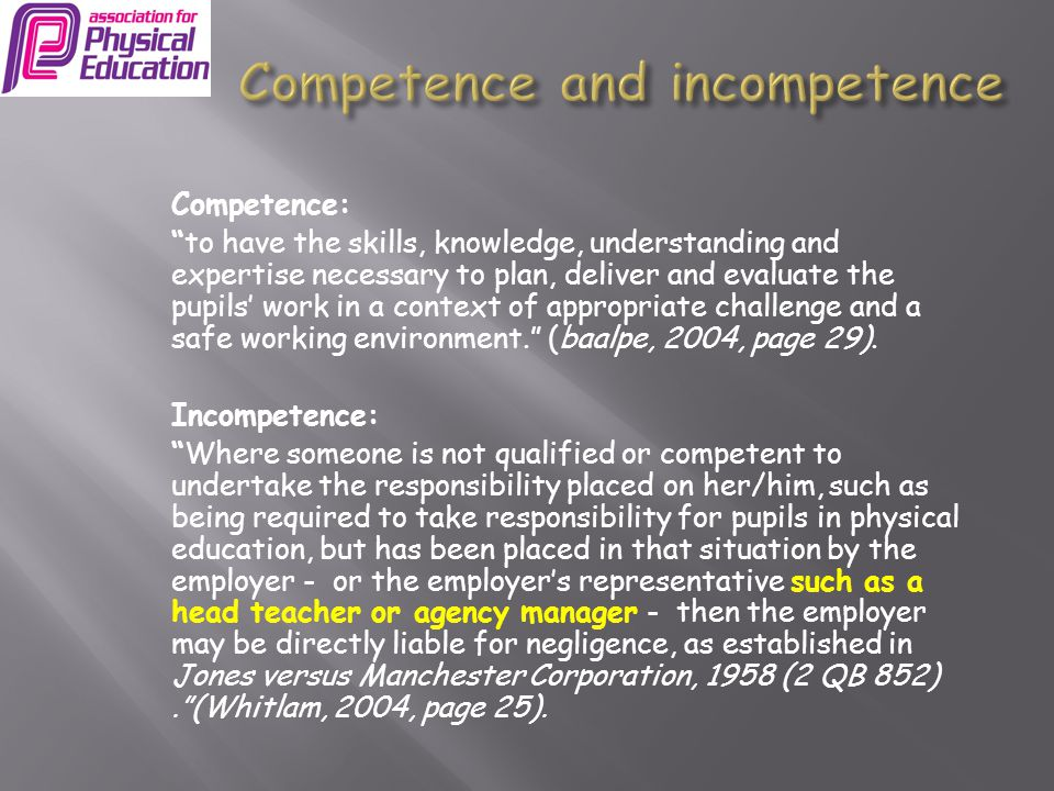 Competence and incompetence