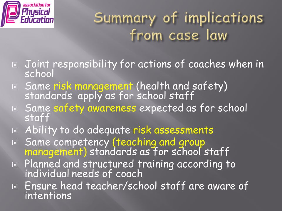 Summary of implications from case law