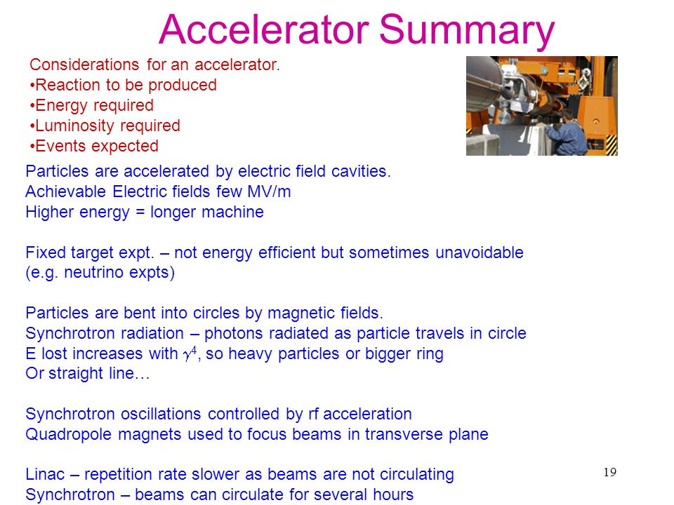 Accelerator Summary Considerations for an accelerator.