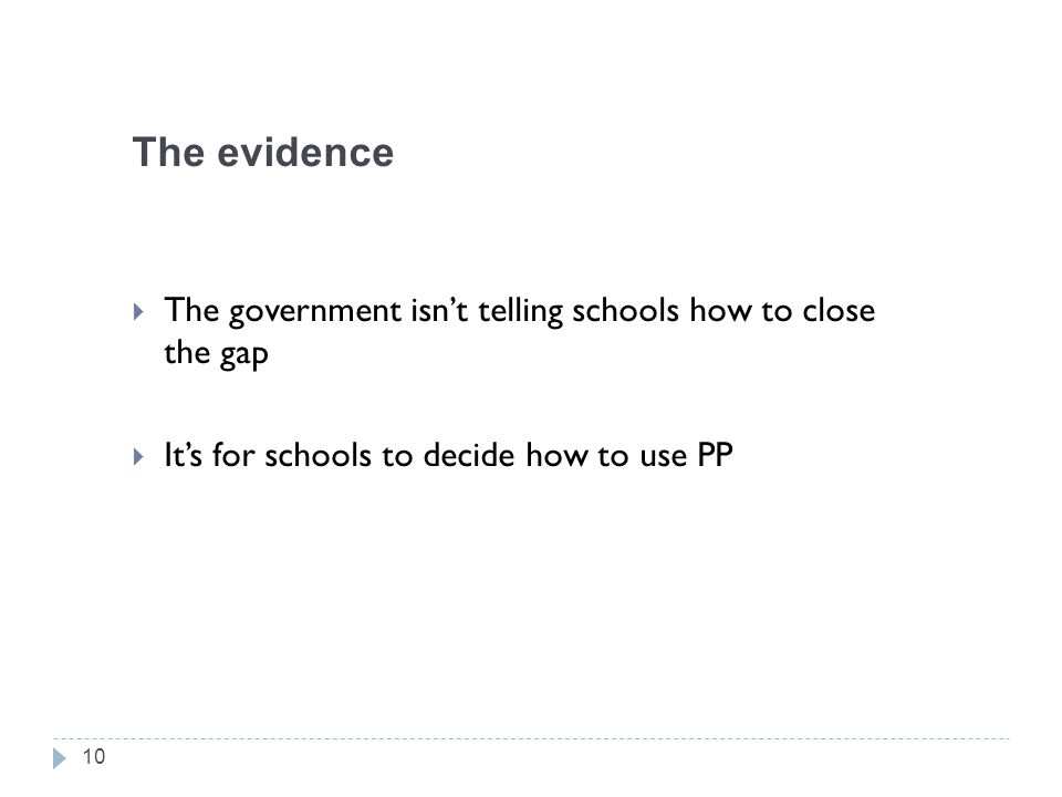 The evidence The government isn't telling schools how to close the gap