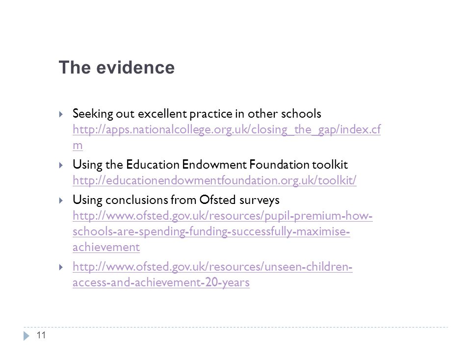 The evidence Seeking out excellent practice in other schools http://apps.nationalcollege.org.uk/closing_the_gap/index.cf m.