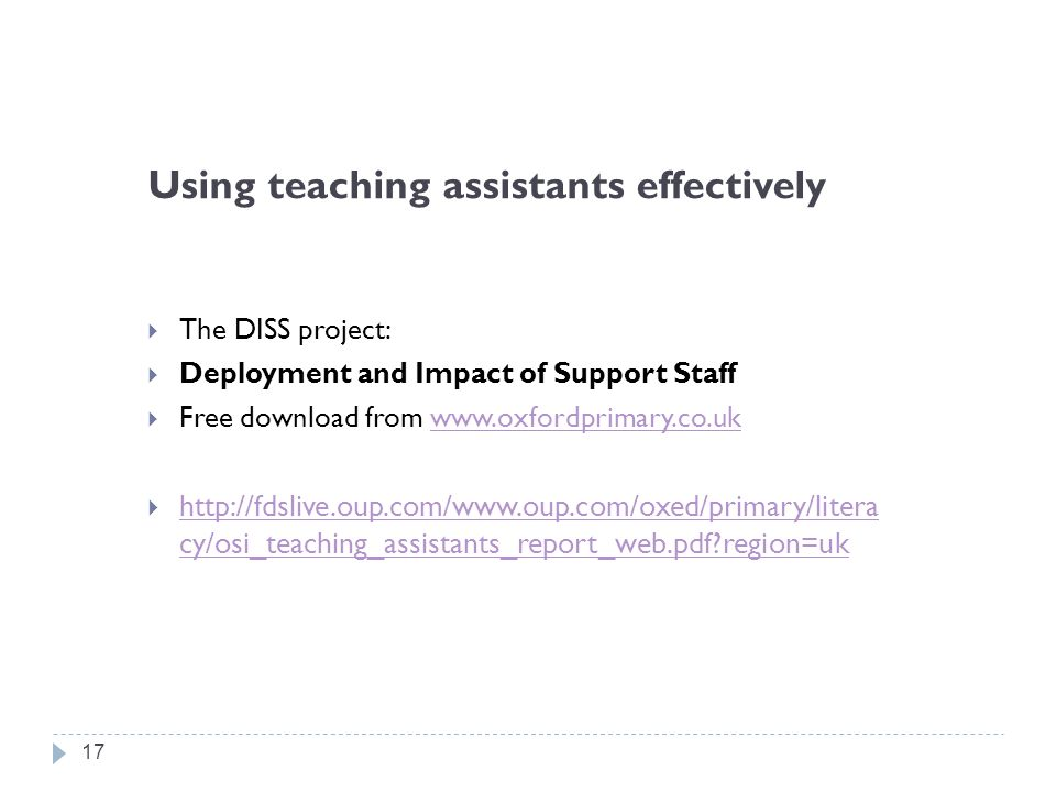 Using teaching assistants effectively