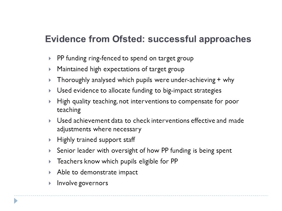 Evidence from Ofsted: successful approaches