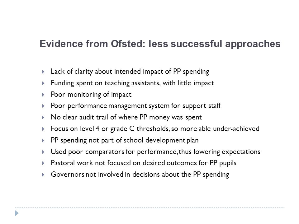 Evidence from Ofsted: less successful approaches