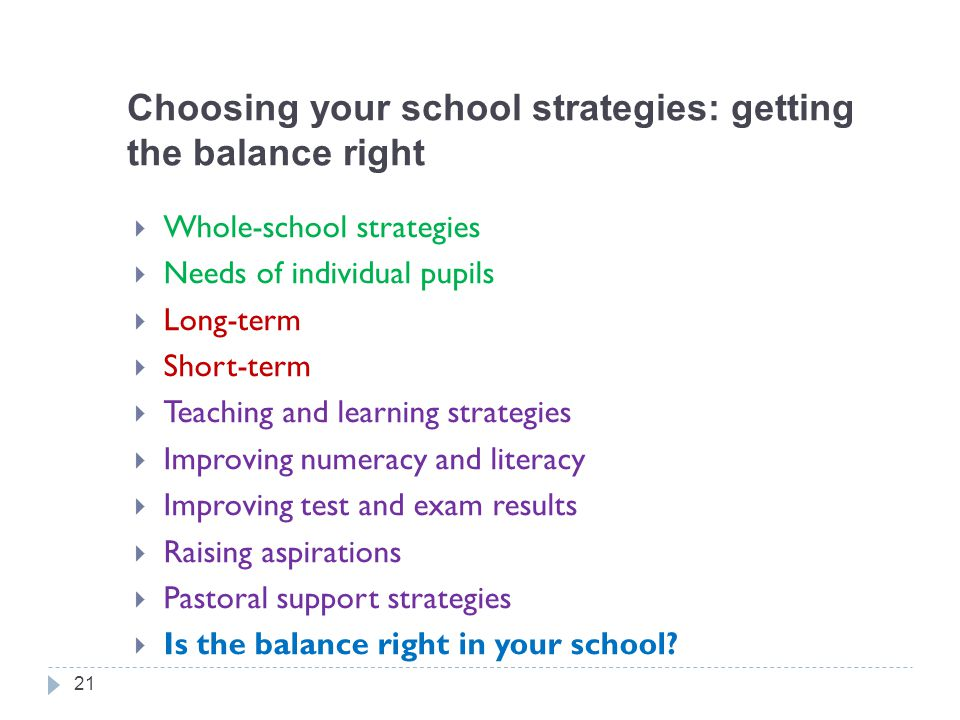Choosing your school strategies: getting the balance right