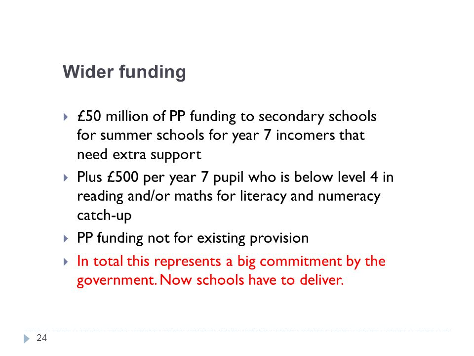 Wider funding £50 million of PP funding to secondary schools for summer schools for year 7 incomers that need extra support.