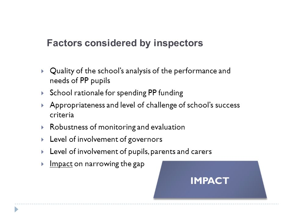 Factors considered by inspectors