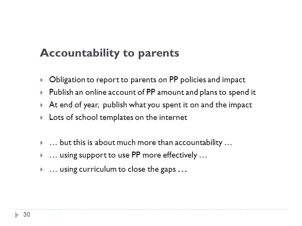 Accountability to parents