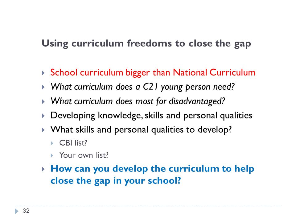Using curriculum freedoms to close the gap
