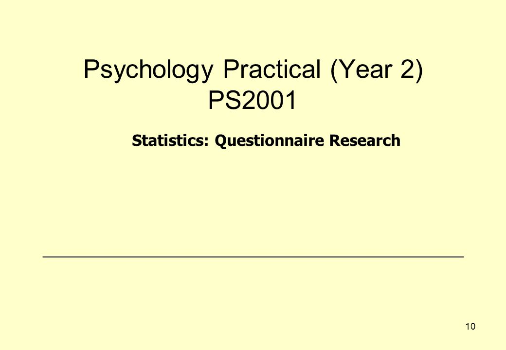 Psychology Practical (Year 2) PS2001
