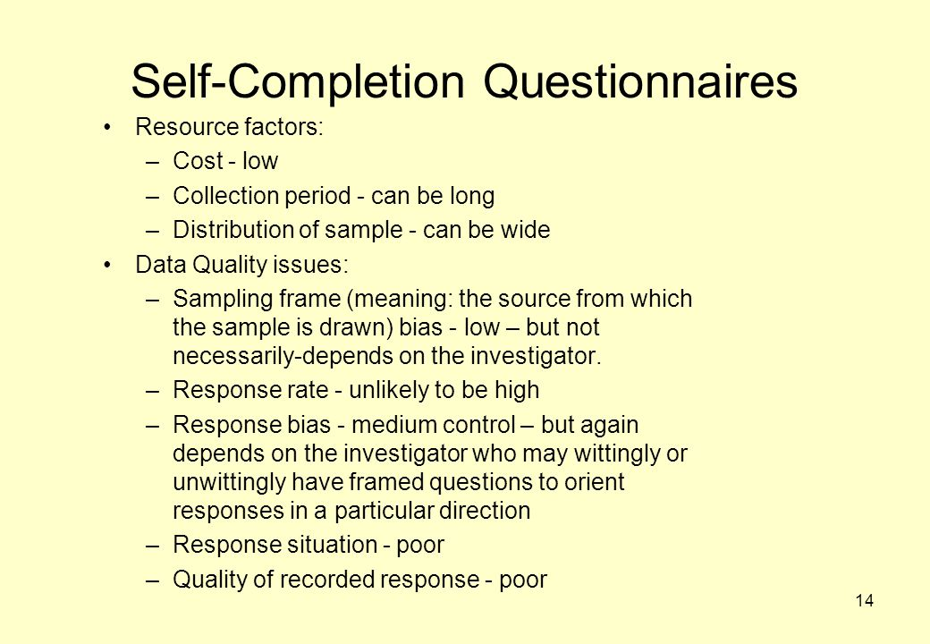 Self-Completion Questionnaires