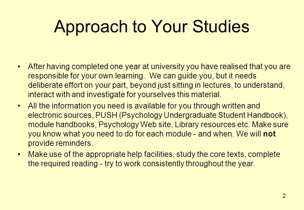 Approach to Your Studies