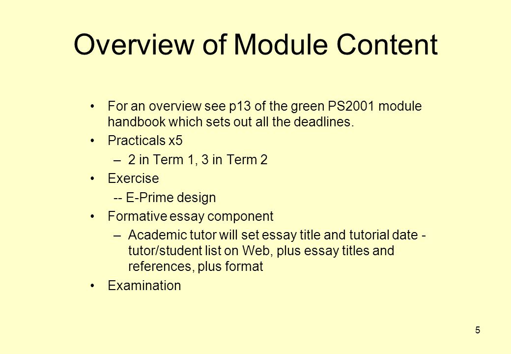 Overview of Module Content
