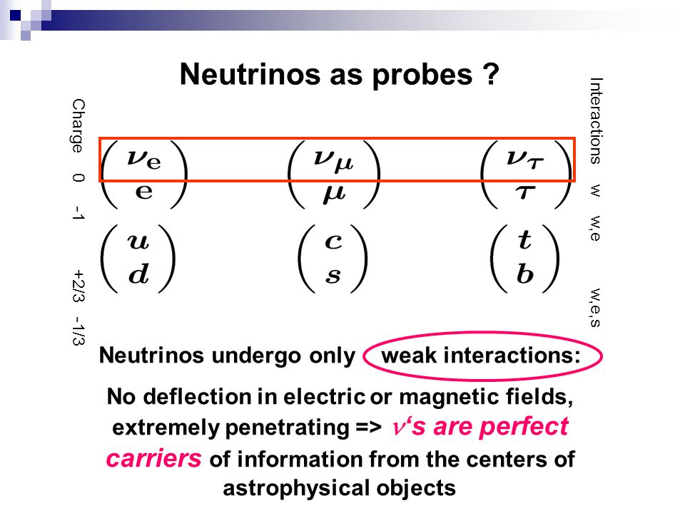 Neutrinos undergo only weak interactions:
