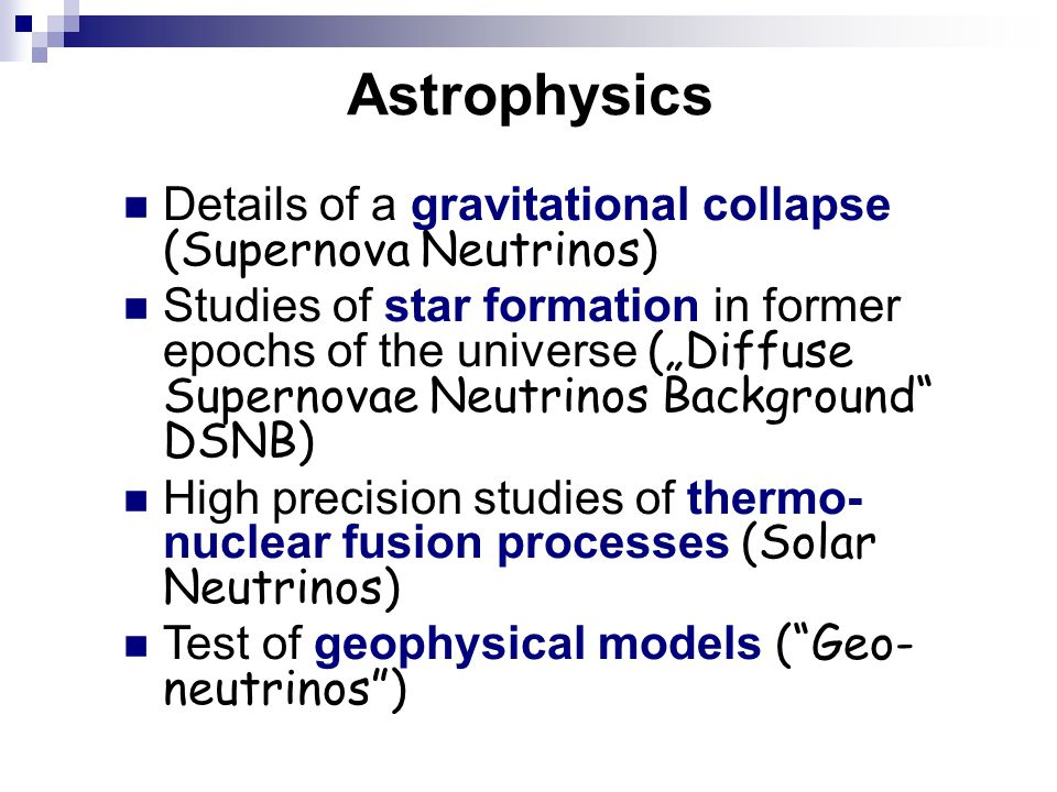 Astrophysics Details of a gravitational collapse (Supernova Neutrinos)