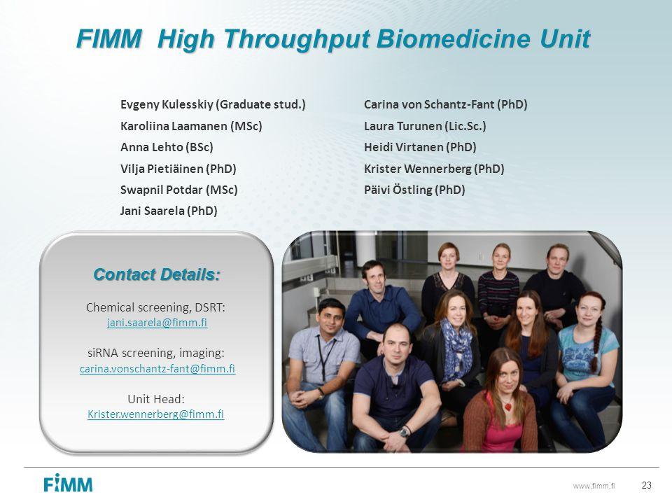 FIMM High Throughput Biomedicine Unit