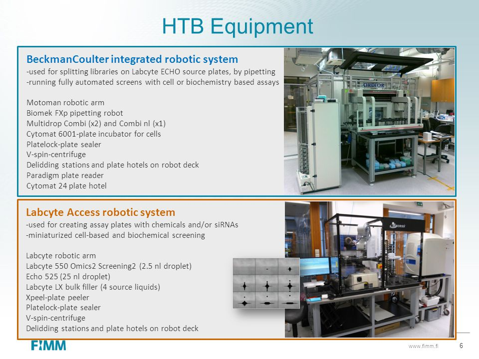 HTB Equipment BeckmanCoulter integrated robotic system