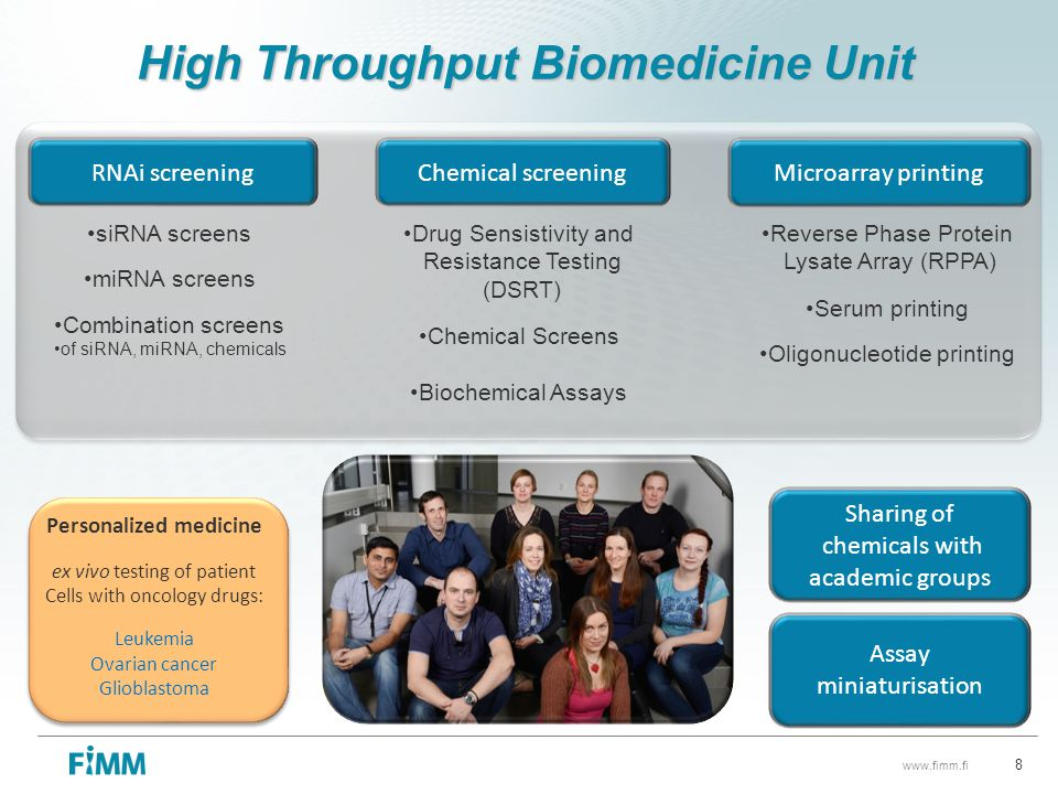 High Throughput Biomedicine Unit Personalized medicine