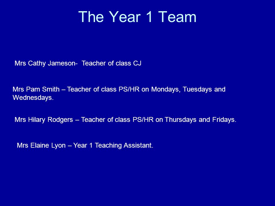 The Year 1 Team Mrs Cathy Jameson- Teacher of class CJ