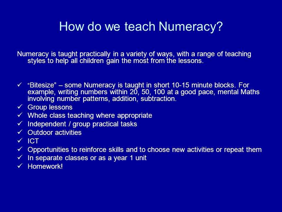 How do we teach Numeracy