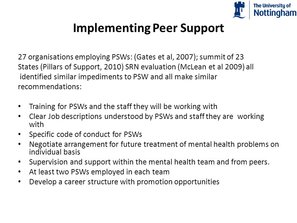Implementing Peer Support
