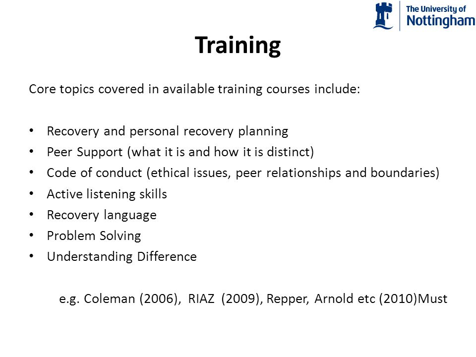 Training Core topics covered in available training courses include: