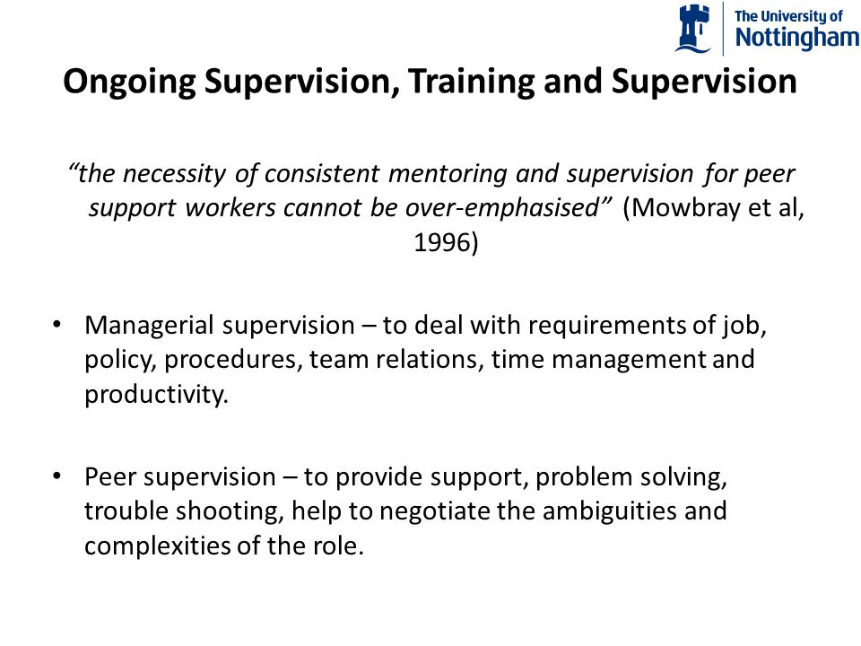Ongoing Supervision, Training and Supervision