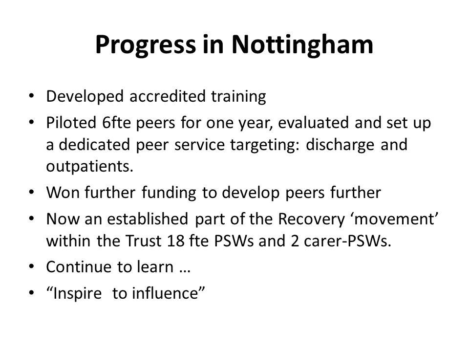 Progress in Nottingham