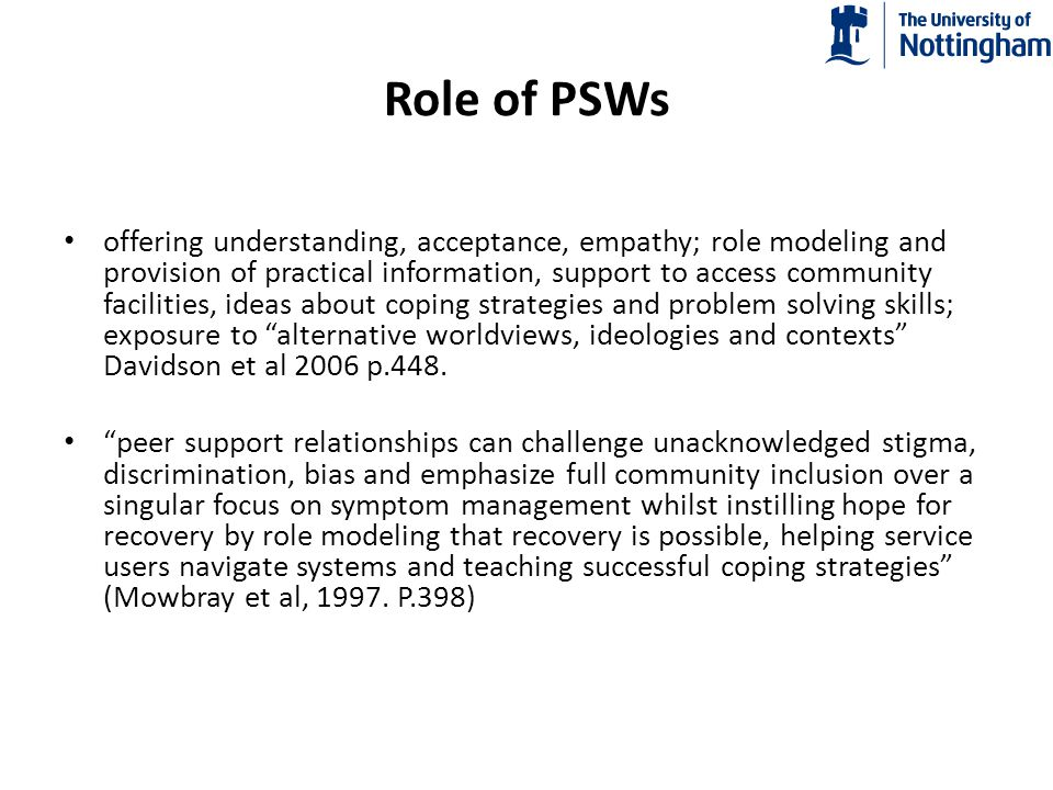 Role of PSWs