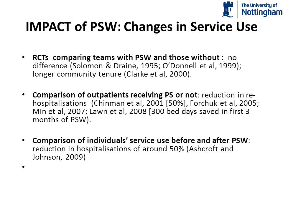 IMPACT of PSW: Changes in Service Use