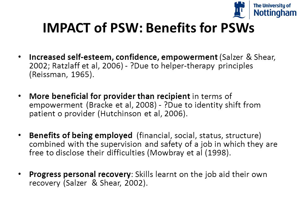 IMPACT of PSW: Benefits for PSWs