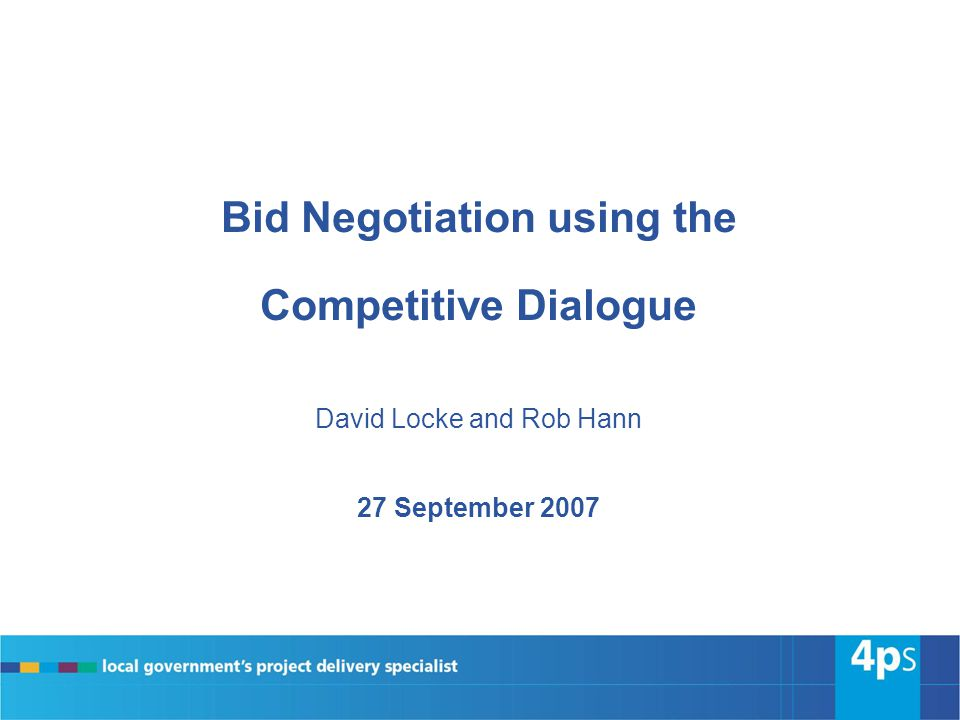Bid Negotiation using the Competitive Dialogue