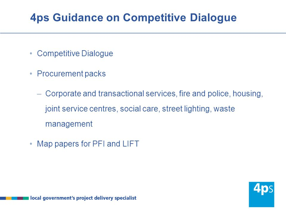 4ps Guidance on Competitive Dialogue