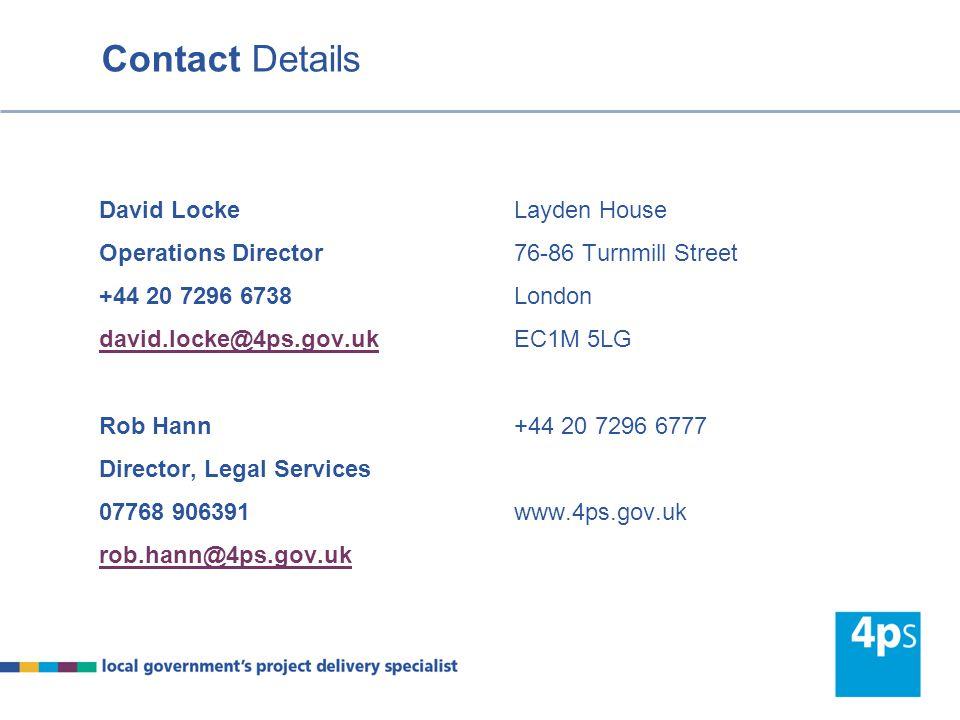 Contact Details David Locke Operations Director +44 20 7296 6738