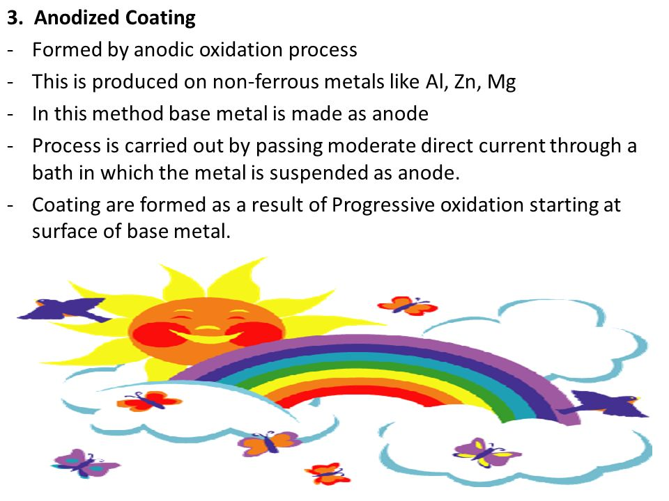 3. Anodized Coating Formed by anodic oxidation process. This is produced on non-ferrous metals like Al, Zn, Mg.