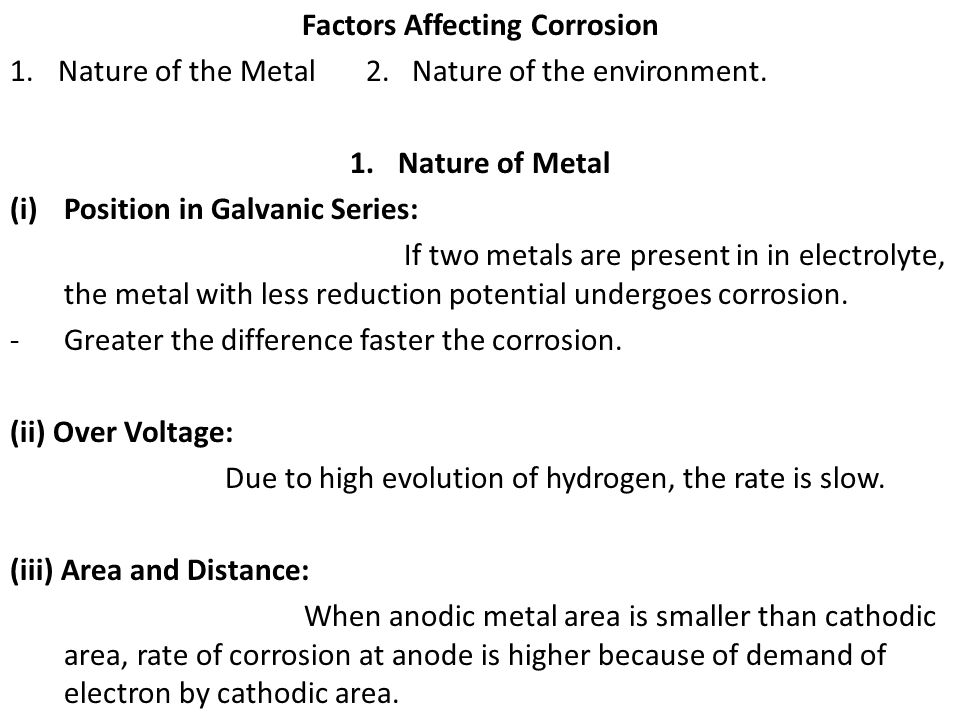 Factors Affecting Corrosion