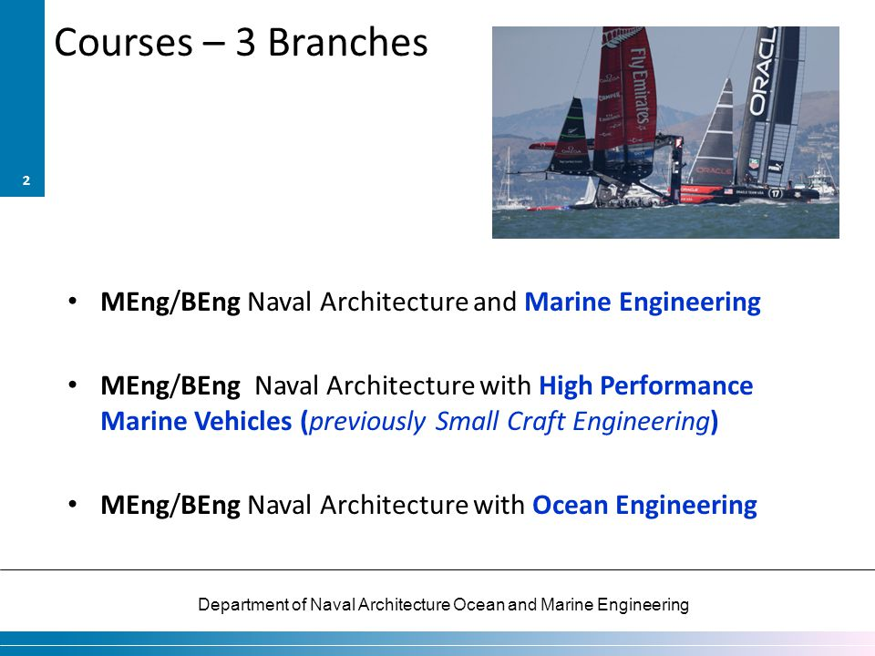 Courses – 3 Branches MEng/BEng Naval Architecture and Marine Engineering.