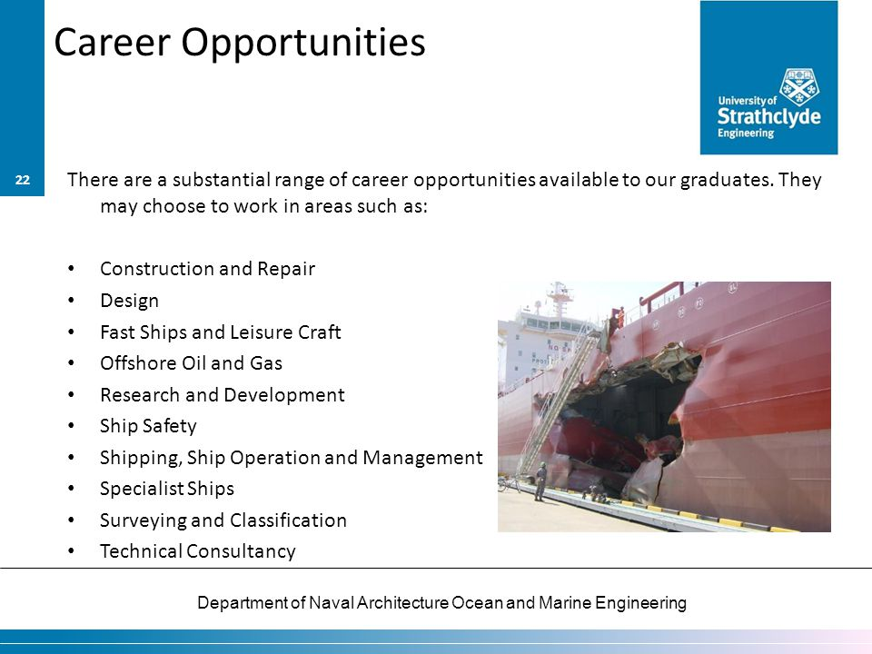 Career Opportunities There are a substantial range of career opportunities available to our graduates. They may choose to work in areas such as: